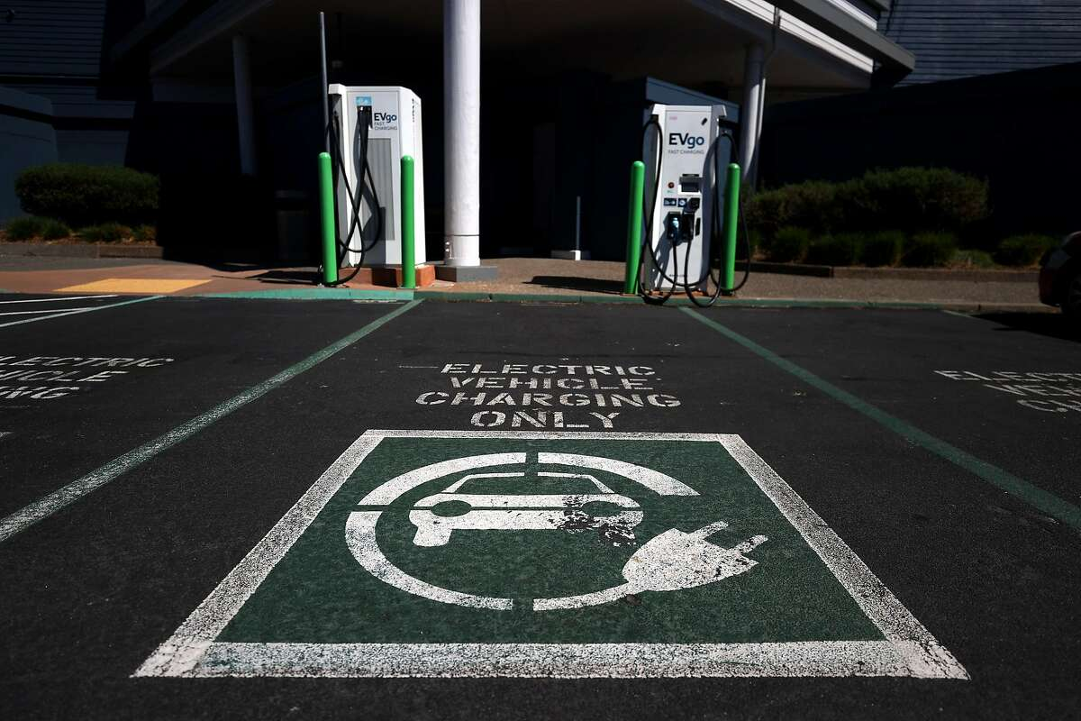CORTE MADERA, CALIFORNIA - SEPTEMBER 23: A view of electric car chargers on September 23, 2020 in Corte Madera, California.