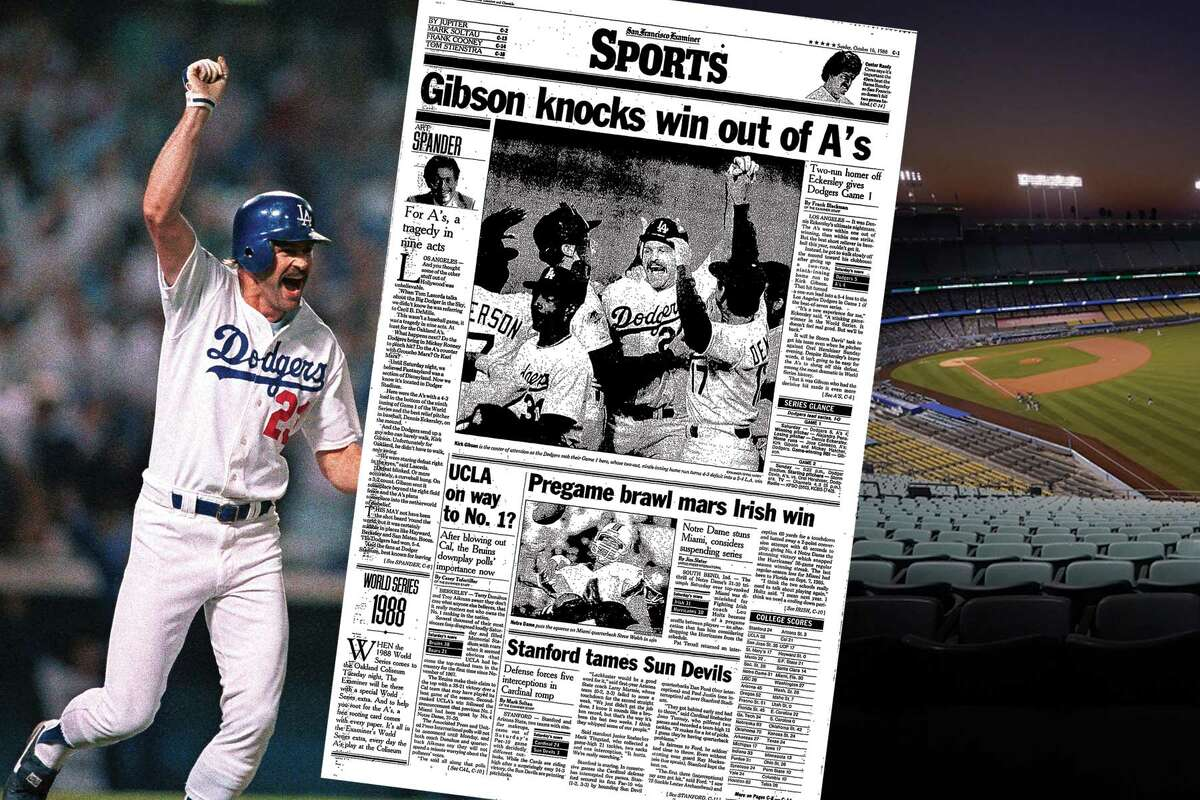 A look at the S.F. Examiner's sports cover from Oct. 16, 1988, the day after Kirk Gibson's walk-off home run off Dennis Eckersley