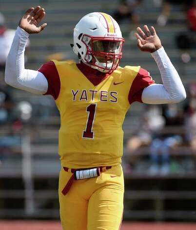 Yates quarterback Broderick Brown signals a touchdown during the second half of a high school football game against North Forest, Saturday, Oct. 3, 2020, in Houston. Photo: Eric Christian Smith, Contributor / Houston Chronicle