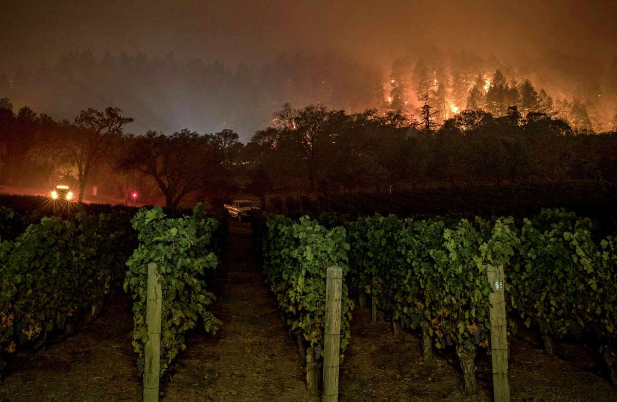 The Glass Fire burns near Vineyard 29 in the northern Napa Valley last week. The monstrous blaze is one of the most destructive the Wine Country has faced.