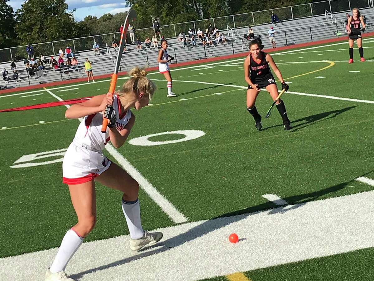 Zita Cohen of Greenwich gets ready to drive the ball during the Cardinals' game against New Canaan on Saturday, October, 3, 2020, in Greenwich, Connecticut.
