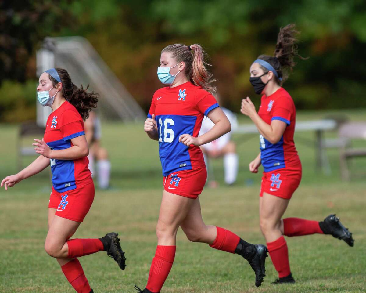 Maple Hill junior Alayna Fletcher after scoring a goal during a game against Taconic Hills at Maple Hill High School on Saturday, Oct. 3, 2020 (Jim Franco/special to the Times Union.)