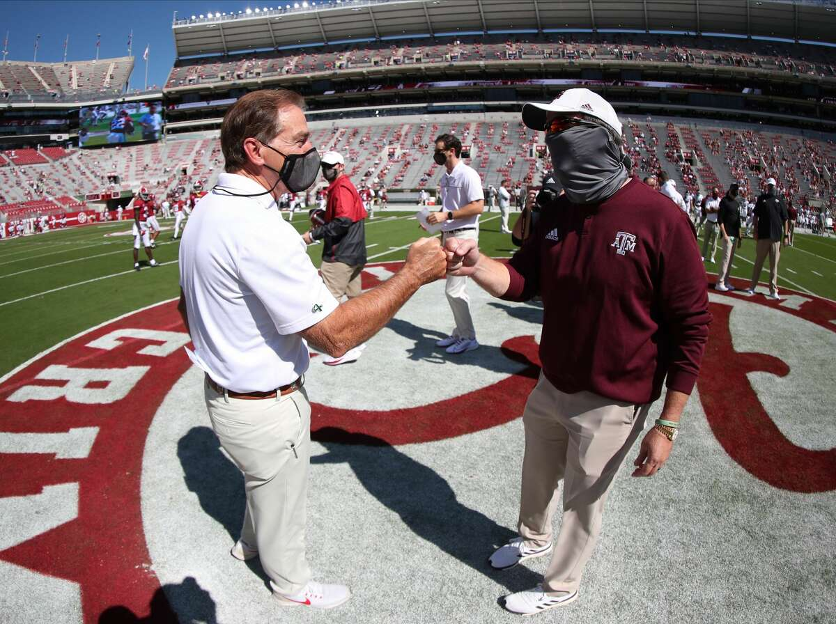 Nick Saban (left) and No. 1 Alabama seem like a lock to make the College Football Playoff, but what does Saban's former assistant Jimbo Fisher need to happen for his Texas A&M team to make the CFP for the first time?