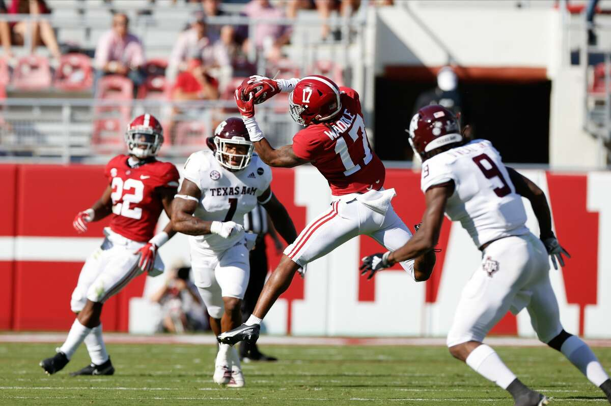 TUSCALOOSA, AL - OCTOBER 3: Laylen Waddke #17 of the Alabama Crimson Tide makes a catch mid-air against the Texas A&M Aggies on October 3, 2020 at Bryant-Denny Stadium in Tuscaloosa, Alabama. (Photo by UA Athletics/Collegiate Images/Getty Images)
