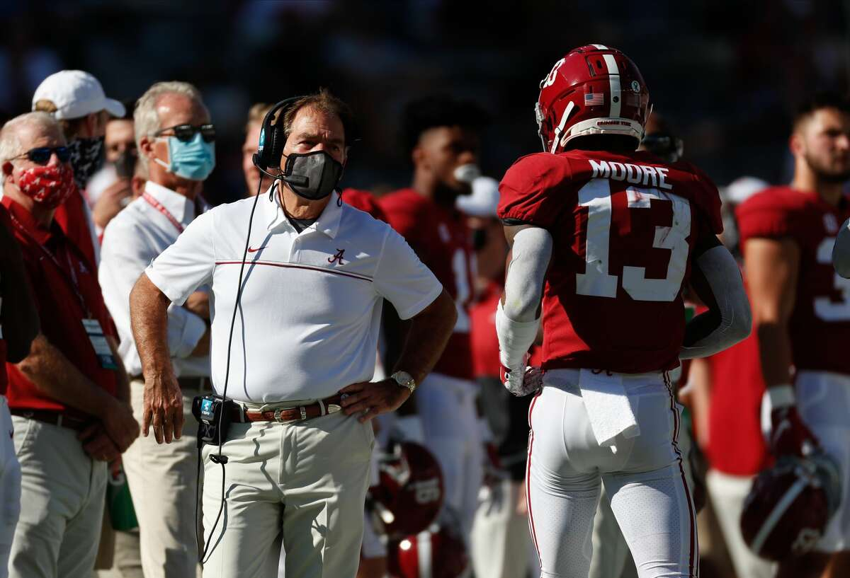 TUSCALOOSA, AL - OCTOBER 3: Nick Saban speaks with Malachi Moore #13 of the Alabama Crimson Tide against the Texas A&M Aggies on October 3, 2020 at Bryant-Denny Stadium in Tuscaloosa, Alabama. (Photo by UA Athletics/Collegiate Images/Getty Images)