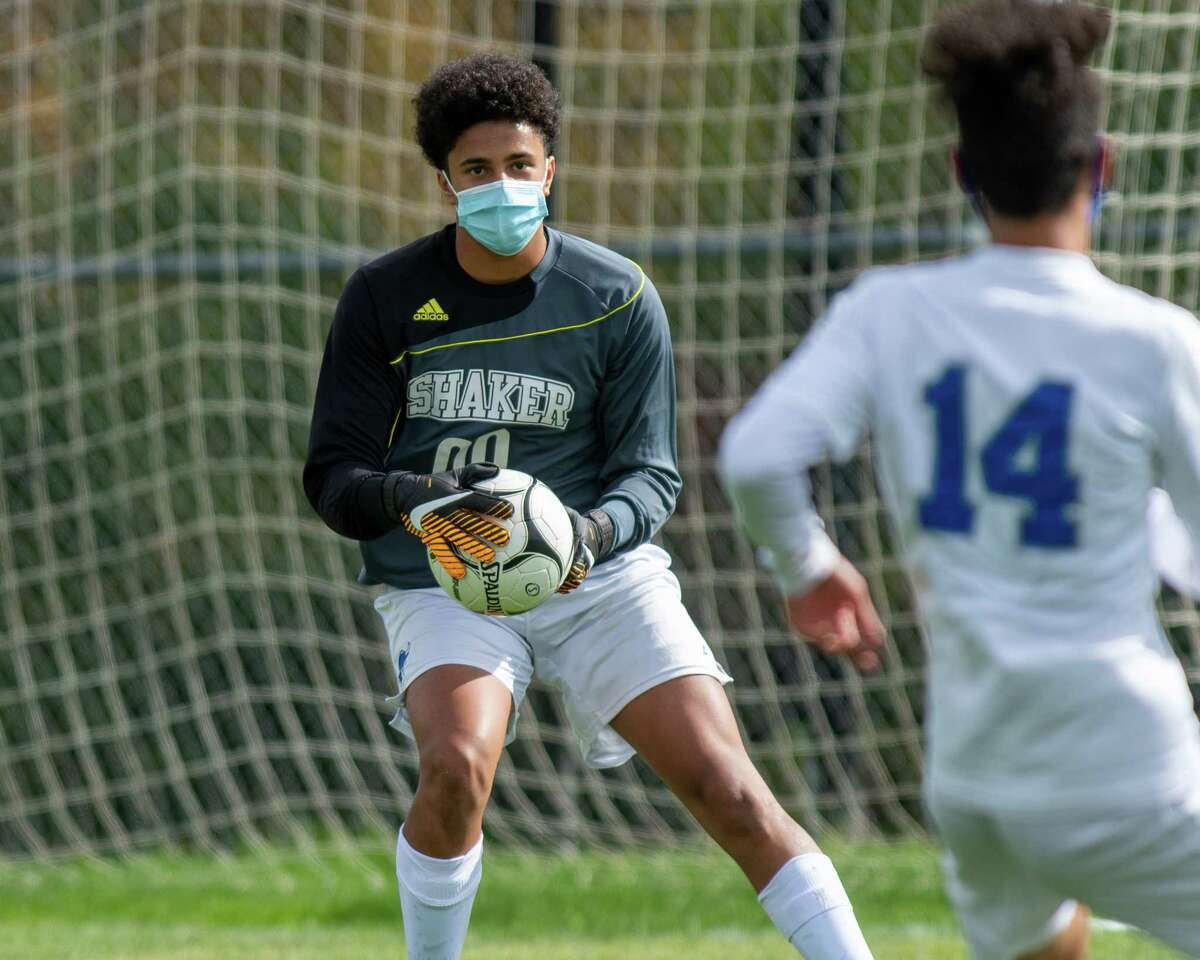 Shaker High goalie Malcolm Robinson makes a save against Albany High during a Suburban Council matchup at Shaker High School on Saturday, Oct. 3, 2020 (Jim Franco/special to the Times Union.)