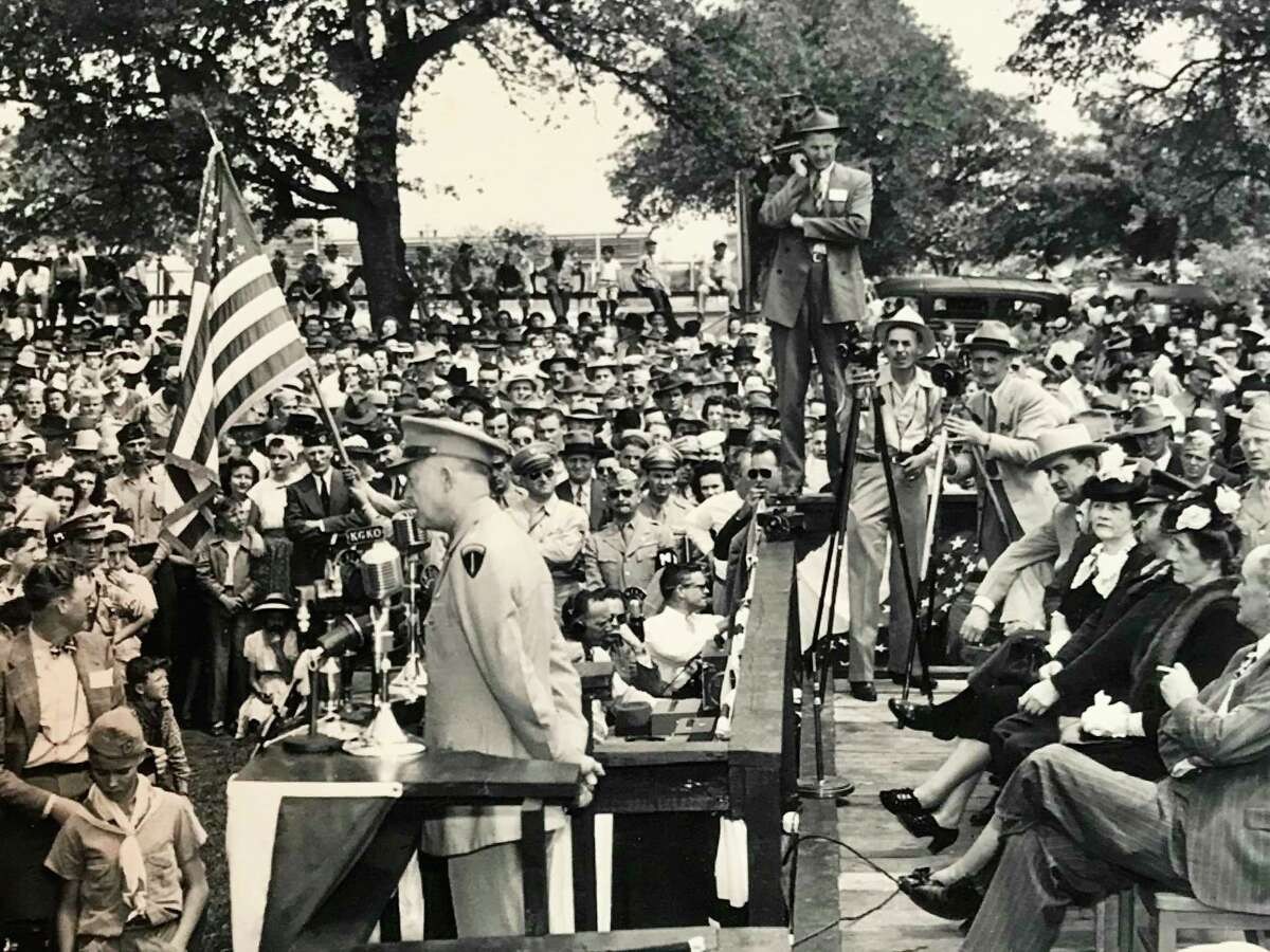 In 1946, the victorious general returned to his birthplace for the first time since leaving Denison as an infant in 1892.