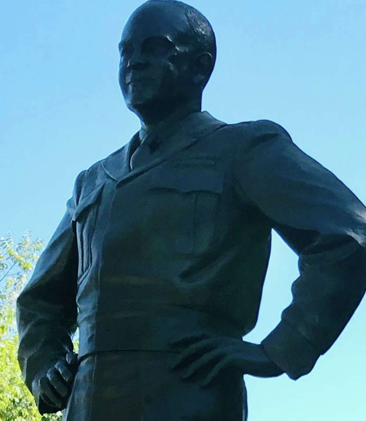 The Eisenhower sculpture on the grounds of his birthplace is by Robert Dean, a West Point graduate who marched in President Eisenhower's 1953 inauguration parade.