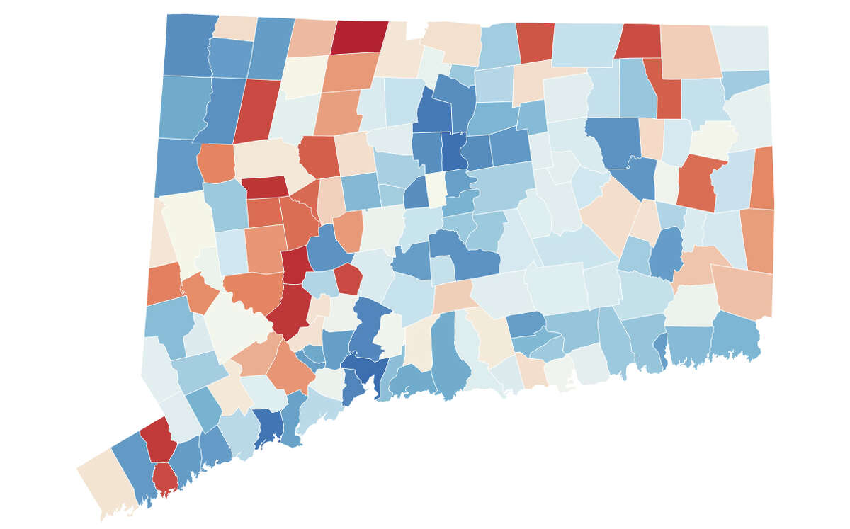 A visualization of voter registration by county in Connecticut in 2020.