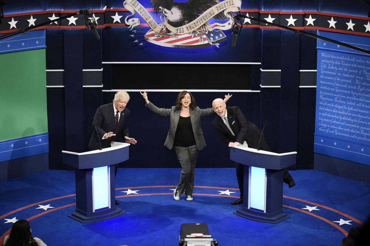 "Alec Baldwin as Donald Trump, Maya Rudolph as Kamala Harris, and Jim Carrey as Joe Biden during the ""First Debate"" Cold Open on Saturday, October 3, 2020."