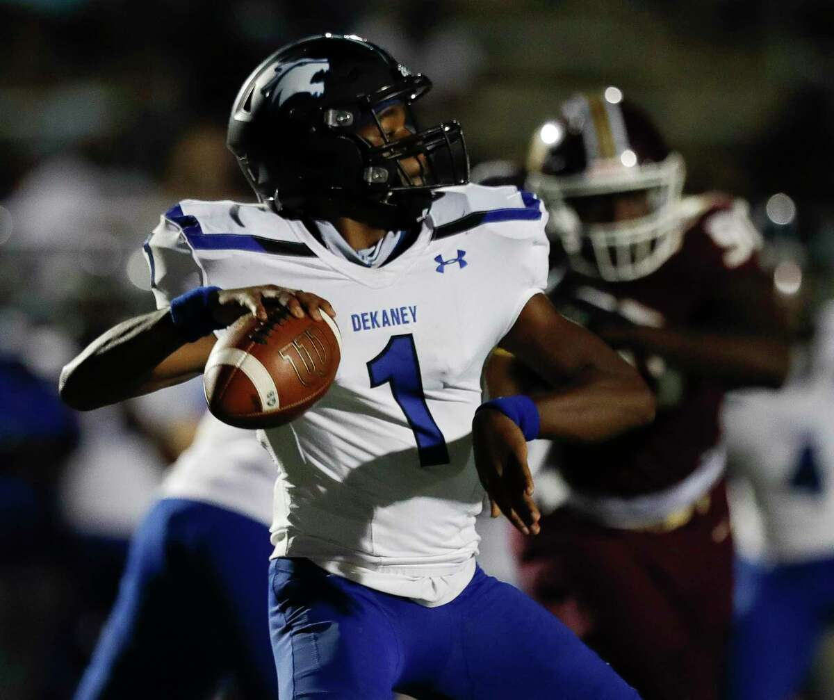 Dekaney suffered a 40-17 loss vs. Summer Creek in non-district play, Oct. 3, at Turner Stadium. Wildcat quarterback Daelyn Williams (1) drops back to pass during the first quarter.