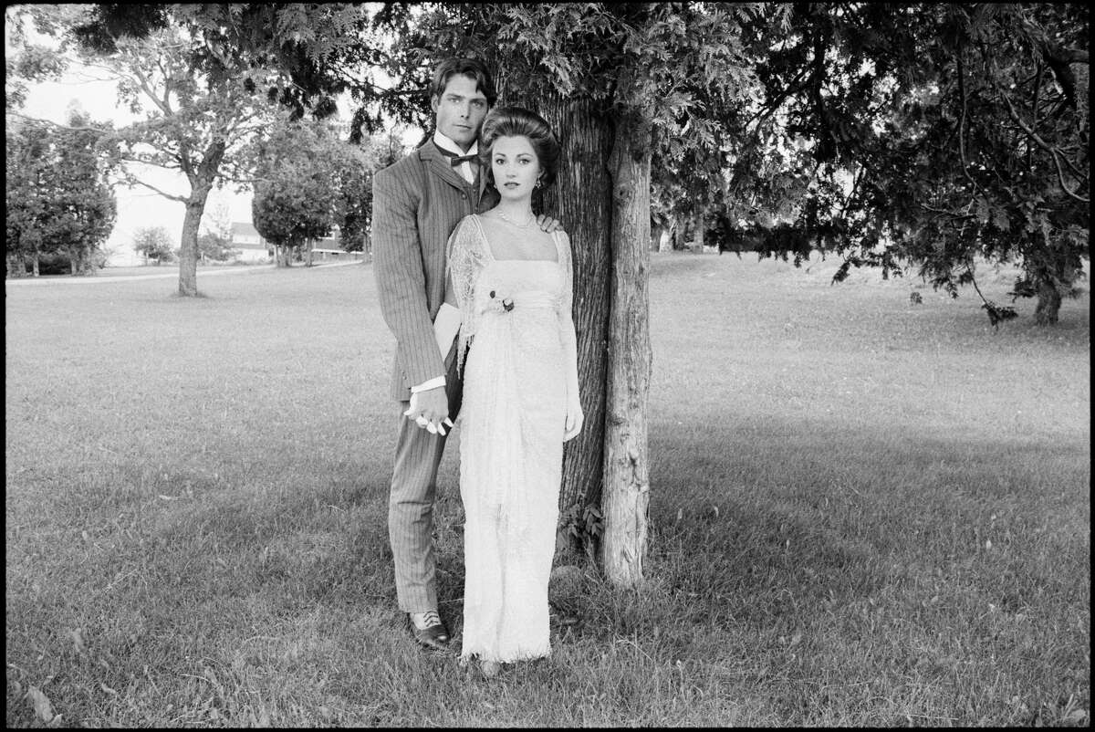 """Christopher Reeve and Jane Seymour, in costume as Richard Collier and Elise McKenna, for the film """"Somewhere in Time."""" Photographed at Mackinac Island, Michigan, July 18, 1979. (Photo by Derek Hudson/Getty Images)"""