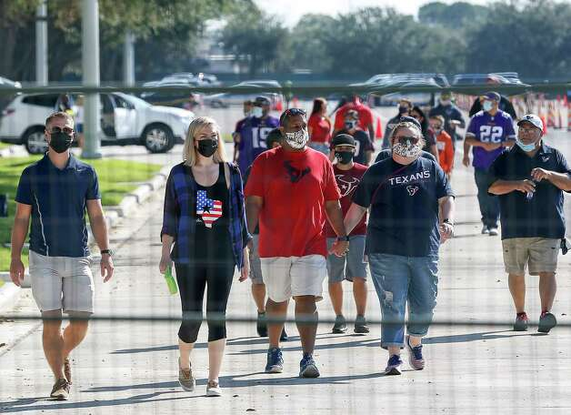 Fans arrive before an NFL game between the Houston Texans and the Minnesota Vikings on Sunday, Oct. 4 2020, at NRG Stadium in Houston. Photo: Jon Shapley, Staff Photographer / © 2020 Houston Chronicle