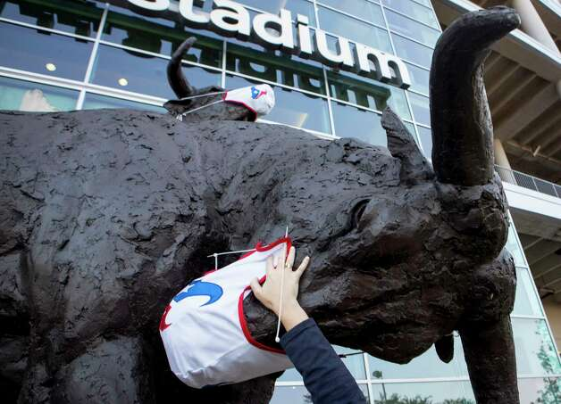 Bri Williams works to place a mask on the bull sculptures before an NFL football game between the Houston Texans and the Minnesota Vikings at NRG Stadium on Sunday, Oct. 4, 2020, in Houston. For the first time this season, fans will be allowed in the stadium for a game. There will be 13,300 fans able to attend the game. Photo: Brett Coomer, Staff Photographer / © 2020 Houston Chronicle