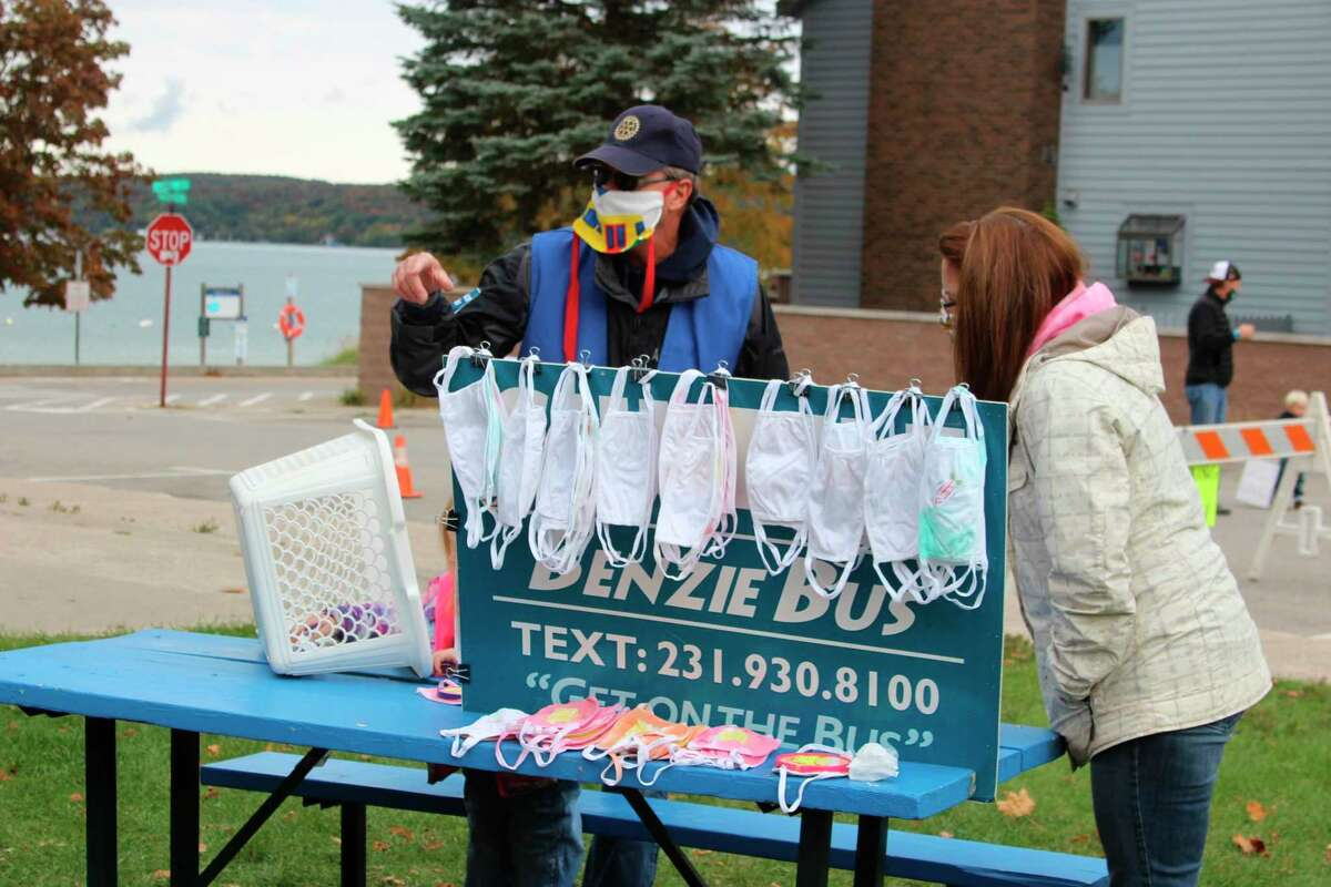 Benzie Bus was at Beulah's weekend of Fall Fest handing out masks for all. (Photo/Colin Merry)