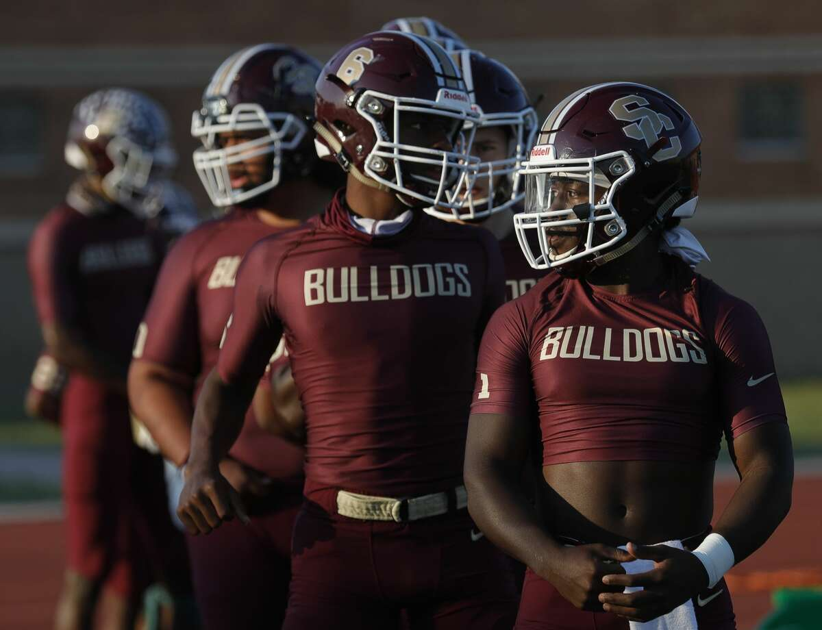 Summer Creek players wait to warm up before a non-district high school football game at Turner Stadium, Saturday, Oct. 3, 2020, in Humble.