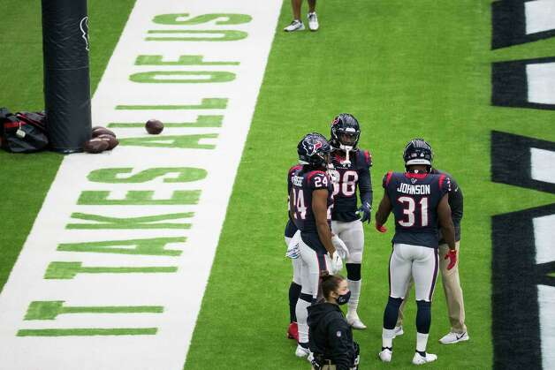 Houston Texans players warm up before an NFL football game at NRG Stadium on Sunday, Oct. 4, 2020, in Houston. Photo: Brett Coomer, Staff Photographer / © 2020 Houston Chronicle