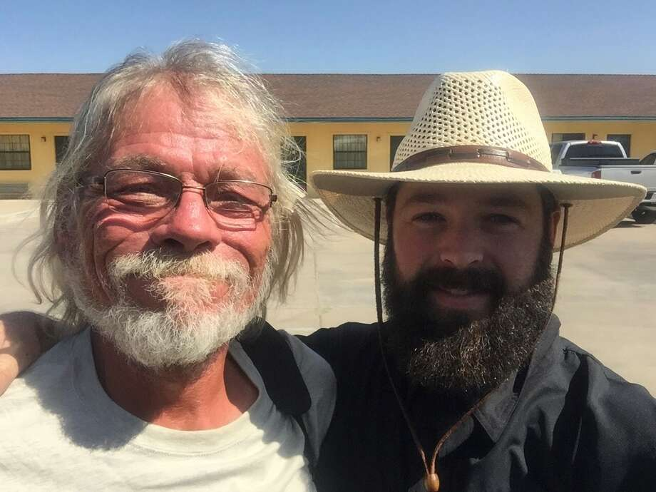 "John Mark Echols, right, founder of The Field's Edge, and Johnny Ray, one of the ""old guard"" homeless people who recently died. Photo: Courtesy Photo"