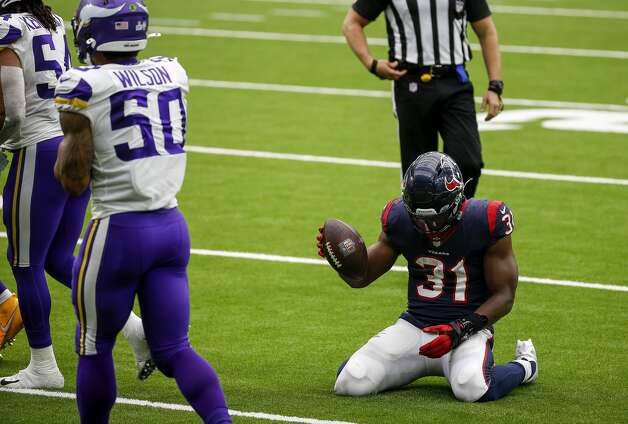 Houston Texans running back David Johnson (31) reacts after fumbling and recovering the ball during the fourth quarter of an NFL game on Sunday, Oct. 4 2020, at NRG Stadium in Houston. Photo: Jon Shapley/Staff Photographer / © 2020 Houston Chronicle