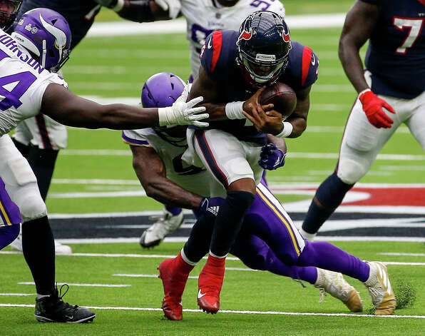 Houston Texans quarterback Deshaun Watson (4) is tackled by Minnesota Vikings defensive end Yannick Ngakoue during the fourth quarter of an NFL game on Sunday, Oct. 4 2020, at NRG Stadium in Houston. Photo: Jon Shapley/Staff Photographer / © 2020 Houston Chronicle