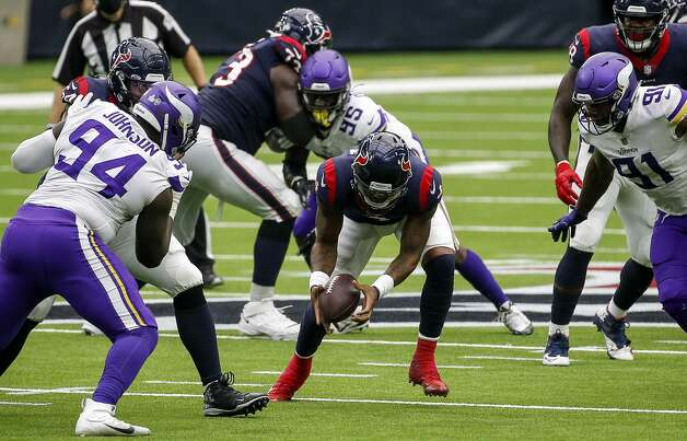 Houston Texans quarterback Deshaun Watson (4) recovers his own fumble during the fourth quarter of an NFL game on Sunday, Oct. 4 2020, at NRG Stadium in Houston. Photo: Jon Shapley/Staff Photographer / © 2020 Houston Chronicle