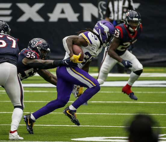 Minnesota Vikings running back Dalvin Cook (33) breaks a tackle by Houston Texans' Benardrick McKinney (55) during the fourth quarter of an NFL game on Sunday, Oct. 4 2020, at NRG Stadium in Houston. Photo: Jon Shapley/Staff Photographer / © 2020 Houston Chronicle