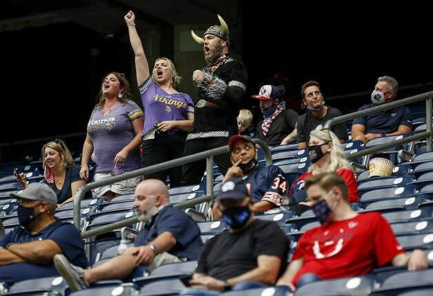 Minnesota Vikings vikings fans react after a touchdown during the fourth quarter of an NFL game on Sunday, Oct. 4 2020, at NRG Stadium in Houston. Photo: Jon Shapley/Staff Photographer / © 2020 Houston Chronicle