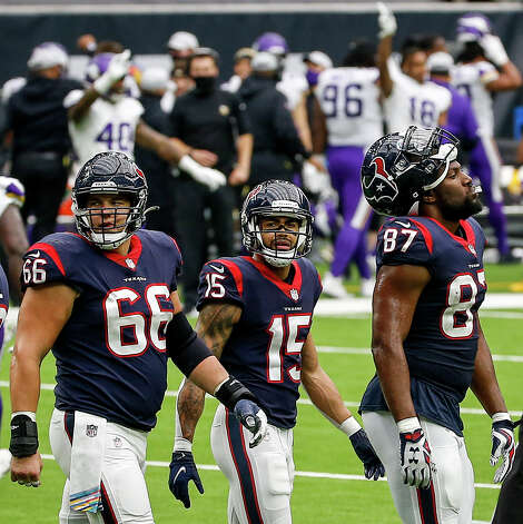 Houston Texans center Nick Martin (66), wide receiver Will Fuller (15) and tight end Darren Fells (87) react after a touchdown was called back during the fourth quarter of an NFL game on Sunday, Oct. 4 2020, at NRG Stadium in Houston. Photo: Jon Shapley/Staff Photographer / © 2020 Houston Chronicle