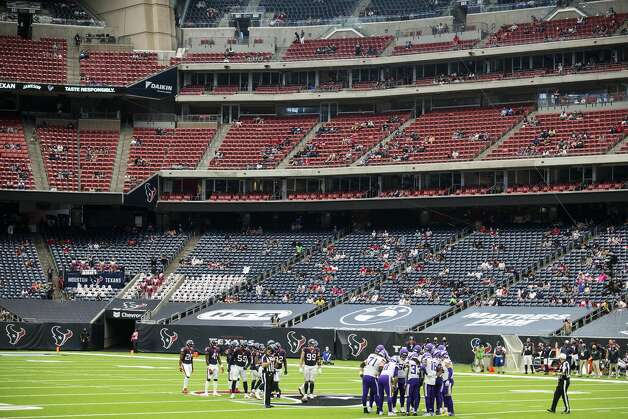 The Houston Texans and the Minnesota Vikings huddle up in front of a socially distanced crowd during the fourth quarter of an NFL football game at NRG Stadium on Sunday, Oct. 4, 2020, in Houston. Photo: Brett Coomer/Staff Photographer / © 2020 Houston Chronicle