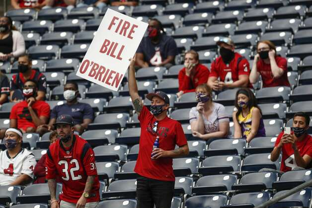 A Houston Texans fan lets his feelings known about head coach Bill O'Brien during the fourth quarter of an NFL football game against the Minnesota Vikings at NRG Stadium on Sunday, Oct. 4, 2020, in Houston. Photo: Brett Coomer/Staff Photographer / © 2020 Houston Chronicle