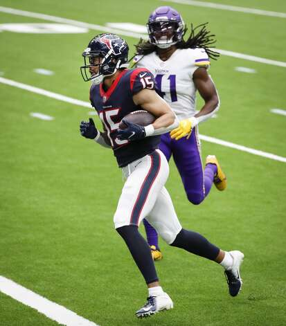 Houston Texans wide receiver Will Fuller (15) runs past Minnesota Vikings free safety Anthony Harris (41) for a 24-yard touchdown reception during the third quarter of an NFL football game at NRG Stadium on Sunday, Oct. 4, 2020, in Houston. Photo: Brett Coomer/Staff Photographer / © 2020 Houston Chronicle