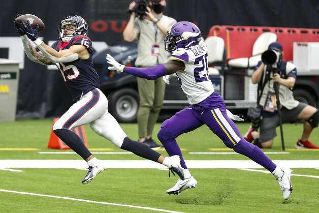 Houston Texans wide receiver Will Fuller (15) beats Minnesota Vikings cornerback Jeff Gladney (20) for a 43-yard reception for a first down during the third quarter of an NFL football game at NRG Stadium on Sunday, Oct. 4, 2020, in Houston. Photo: Brett Coomer/Staff Photographer / © 2020 Houston Chronicle
