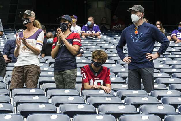 Houston Texans fans are in the stands socially distanced as they watch the first half of an NFL football game at NRG Stadium on Sunday, Oct. 4, 2020, in Houston. Photo: Brett Coomer/Staff Photographer / © 2020 Houston Chronicle