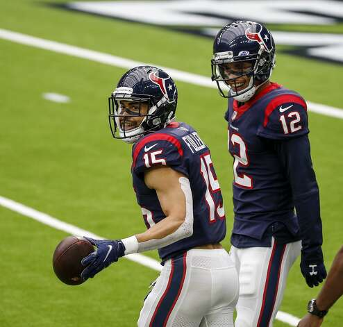 Houston Texans wide receiver Will Fuller (15) celebrates with wide receiver Kenny Stills (12) after he caught a pass during the third quarter of an NFL game on Sunday, Oct. 4 2020, at NRG Stadium in Houston. Photo: Jon Shapley/Staff Photographer / © 2020 Houston Chronicle