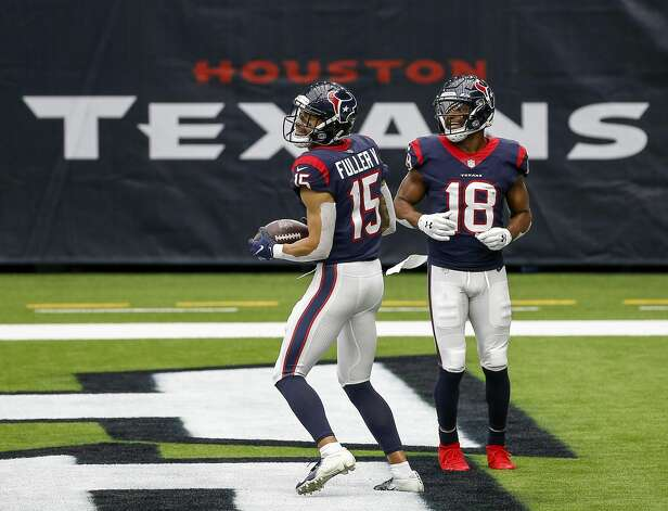 Houston Texans wide receiver Will Fuller (15) celebrates with wide receiver Randall Cobb (18) after he scored a touchdown during the third quarter of an NFL game on Sunday, Oct. 4 2020, at NRG Stadium in Houston. Photo: Jon Shapley/Staff Photographer / © 2020 Houston Chronicle
