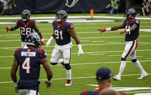 Houston Texans defensive end Carlos Watkins (91) celebrates after Minnesota Vikings kicker Dan Bailey (5) missed a field goal during the third quarter of an NFL game on Sunday, Oct. 4 2020, at NRG Stadium in Houston. Photo: Jon Shapley/Staff Photographer / © 2020 Houston Chronicle