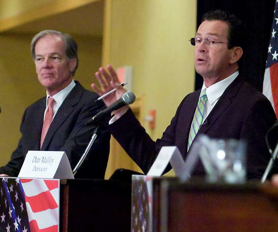 Candidates Republican Tom Foley and Democrat Dan Malloy at the 2010 Gubernatorial Debate at the Stamford Plaza Hotel & Conference Center in Stamford, Conn. on Tuesday June 29, 2010. Photo: Kathleen O'Rourke / Stamford Advocate