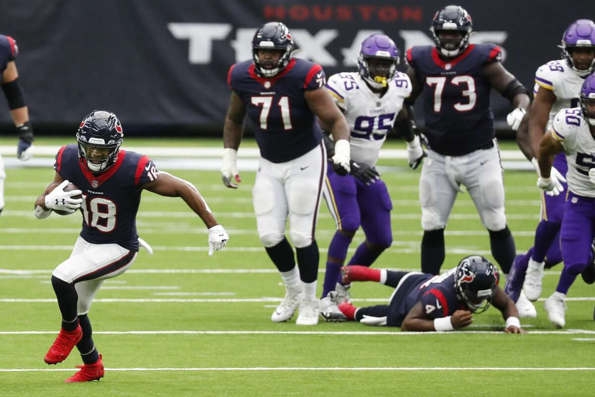 Houston Texans wide receiver Randall Cobb (18) makes a first down reception against the Minnesota Vikings during the fourth quarter of an NFL football game at NRG Stadium on Sunday, Oct. 4, 2020, in Houston.