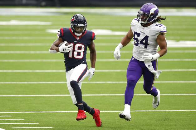 Houston Texans wide receiver Randall Cobb (18) runs past Minnesota Vikings middle linebacker Eric Kendricks (54) after making a first down reception during the fourth quarter of an NFL football game at NRG Stadium on Sunday, Oct. 4, 2020, in Houston. Photo: Brett Coomer/Staff Photographer / © 2020 Houston Chronicle