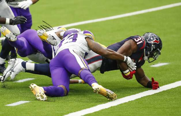 Houston Texans running back David Johnson (31) is stopped short of the goal line by Minnesota Vikings strong safety George Iloka (43) during the fourth quarter of an NFL football game at NRG Stadium on Sunday, Oct. 4, 2020, in Houston. Photo: Brett Coomer/Staff Photographer / © 2020 Houston Chronicle
