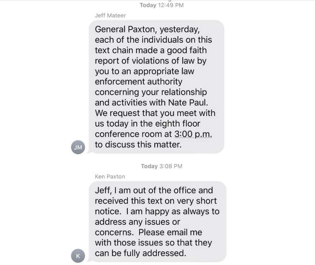 This is the text message with which seven high-ranking officials notified Texas Attorney General Ken Paxton of their criminal complaint against him.
