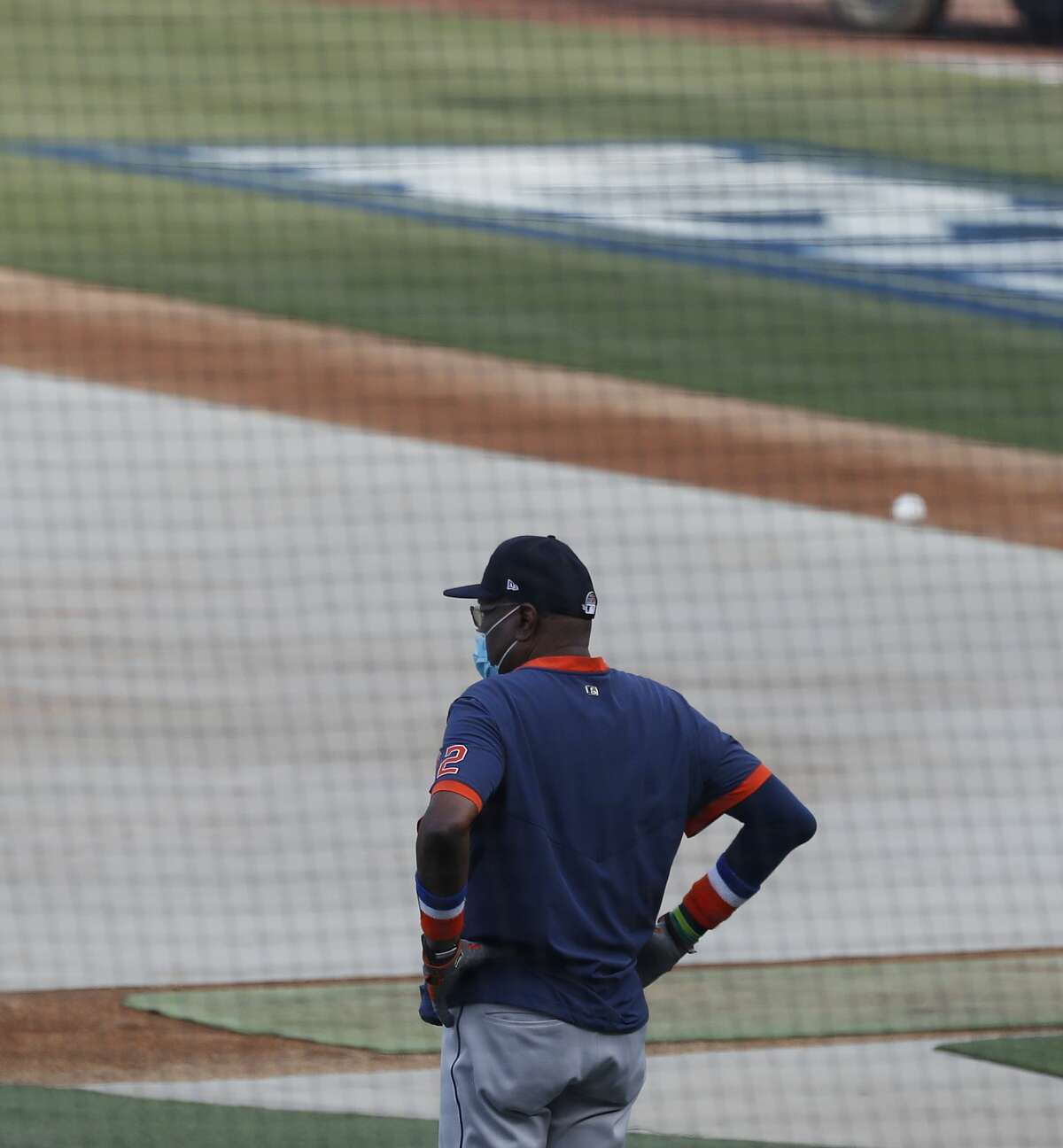 Houston Astros manager Dusty Baker Jr. watches batting practice and workouts, Sunday, October 4, 2020, in Los Angeles, as the Astros prepared to take on the Oakland Athletics in Game 1 of the ALDS, Monday, at Dodger Stadium.