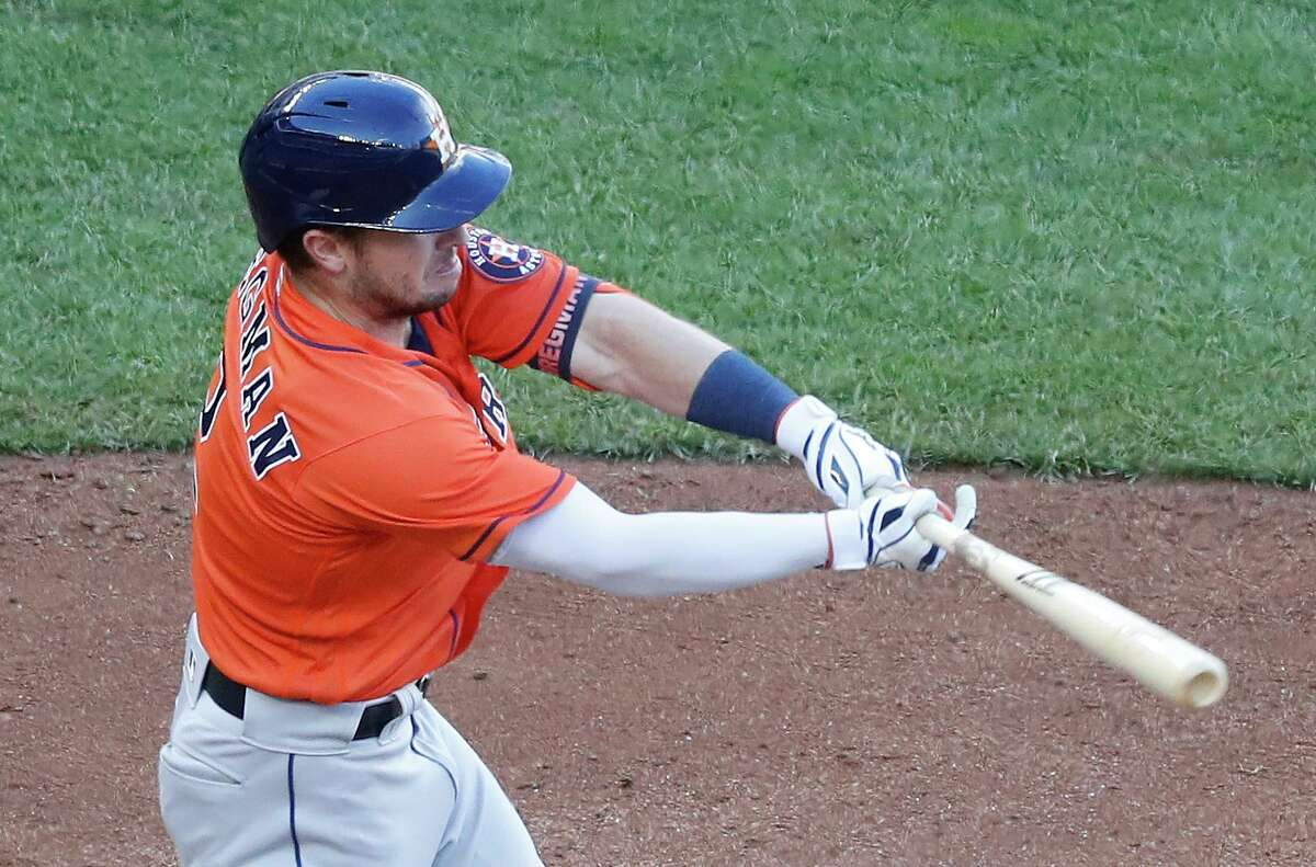 Astros third baseman Alex Bregman struggled against the A's this season, collecting only two hits in 21 at-bats.