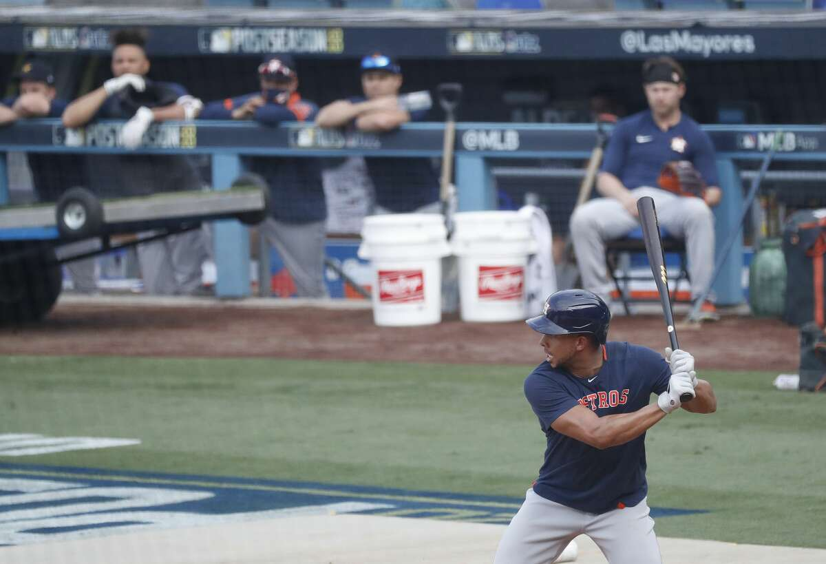 Houston Astros Michael Brantley takes live at-bats against pitcher Ralph Garza during batting practice and workouts, Sunday, October 4, 2020, in Los Angeles, as the Astros prepared to take on the Oakland Athletics in Game 1 of the ALDS, Monday, at Dodger Stadium.