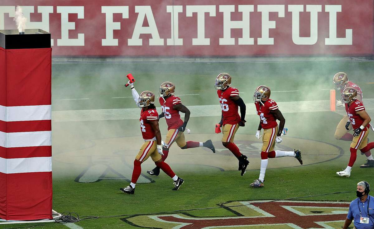 The 49ers take the Levi's Stadium field before playing Philadelphia on Oct. 4. After a rousing 2019 at home (8-2 including the playoffs), this season they're 1-3 in Santa Clara.