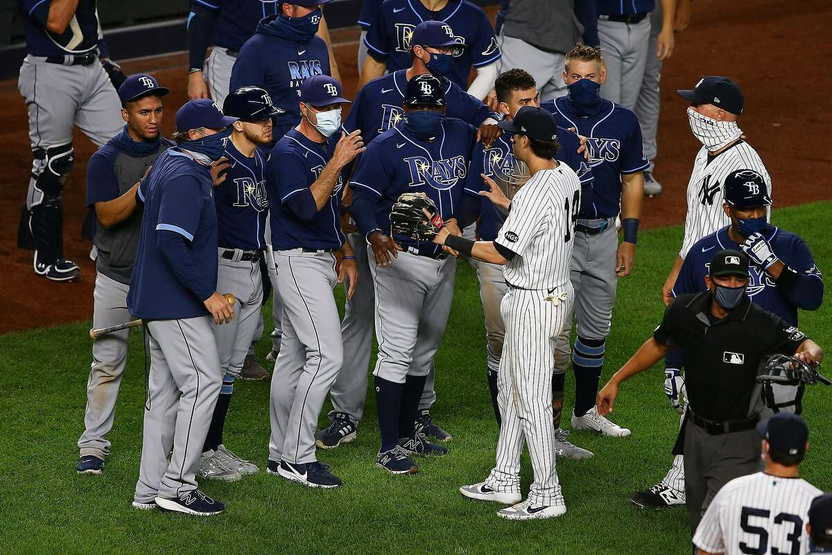 Tensions between the Yankees and Rays hit a peak on Sept. 1 when Aroldis Chapman threw a 101 mph pitch near Mike Brosseau's head, leading to a three-game suspension.