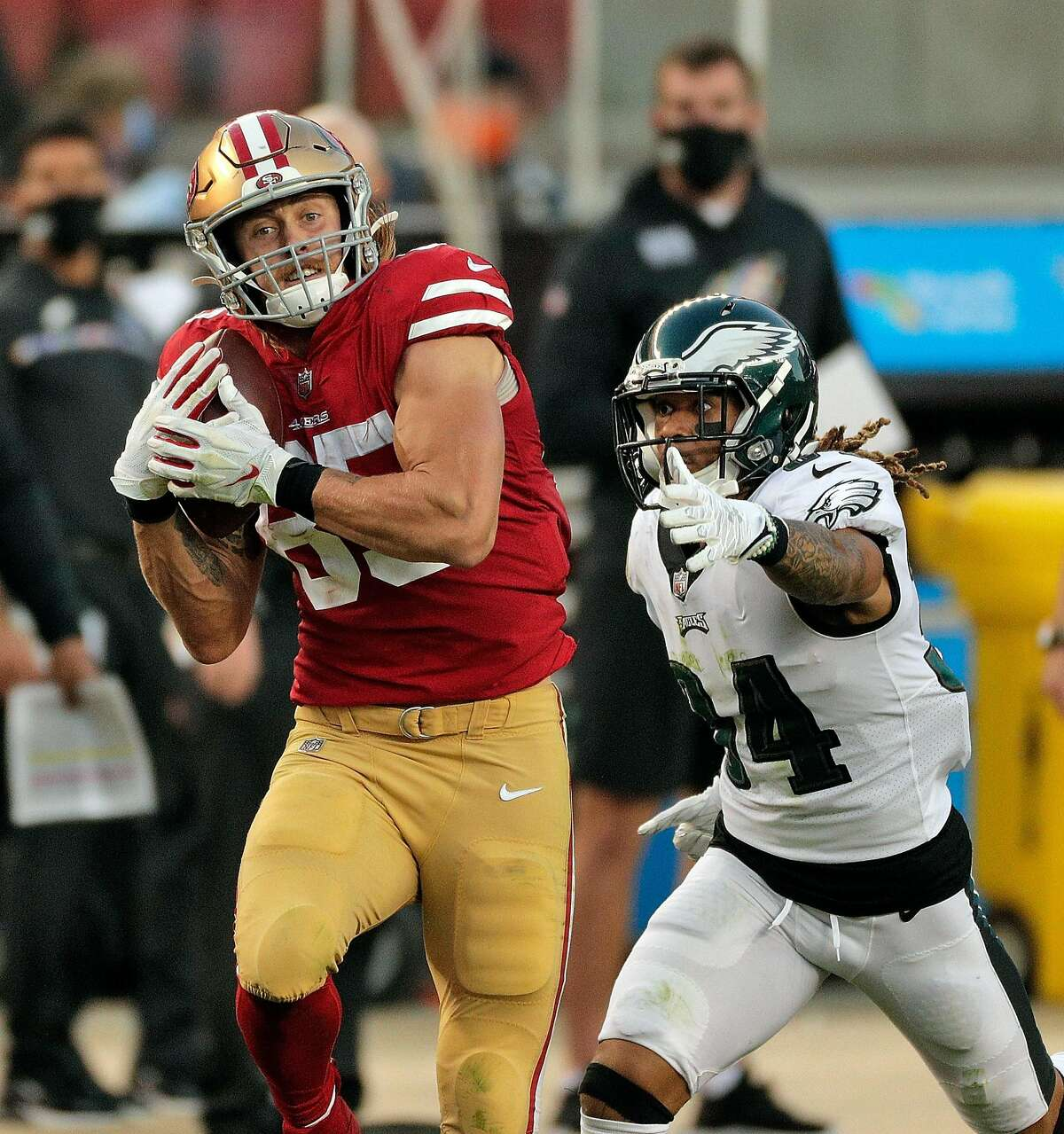 George Kittle (85) catches a 38-yard reception In the first half as the San Francisco 49ers played the Philadelphia Eagles at Levi's Stadium in Santa Clara, Calif., on Sunday, October 4, 2020.