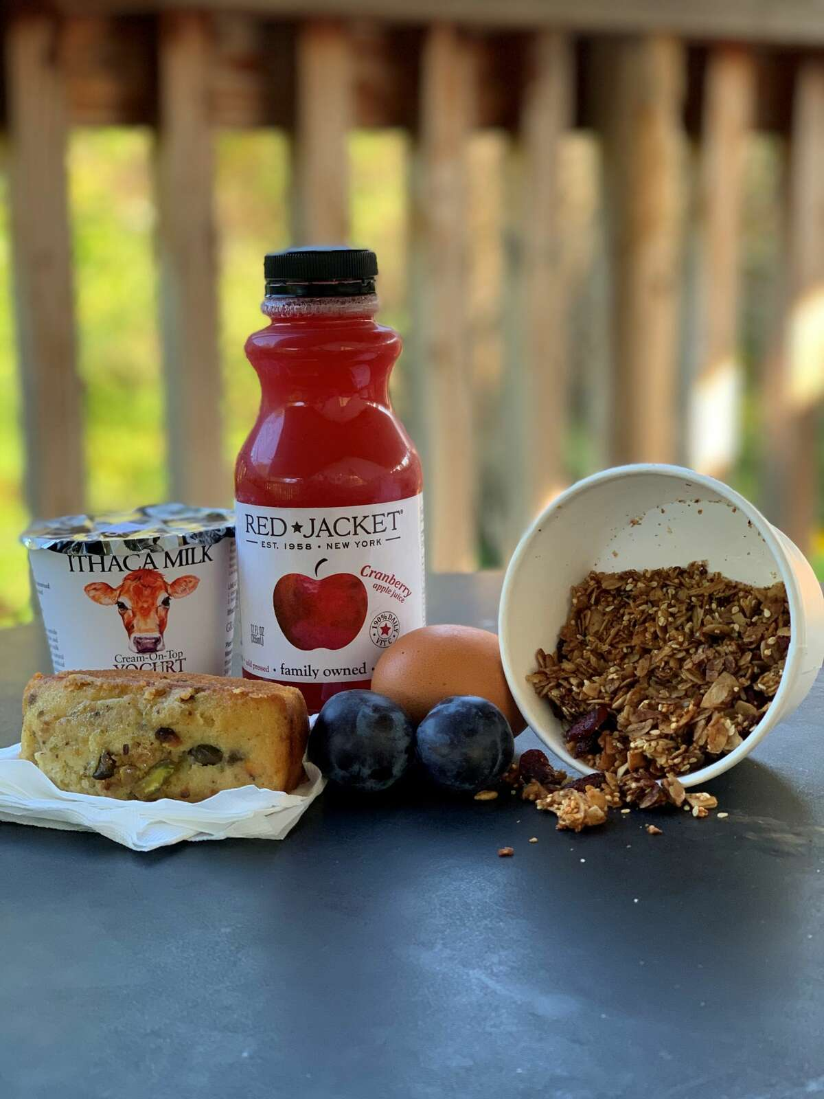The local breakfast options at Firelight Camps in Ithaca.