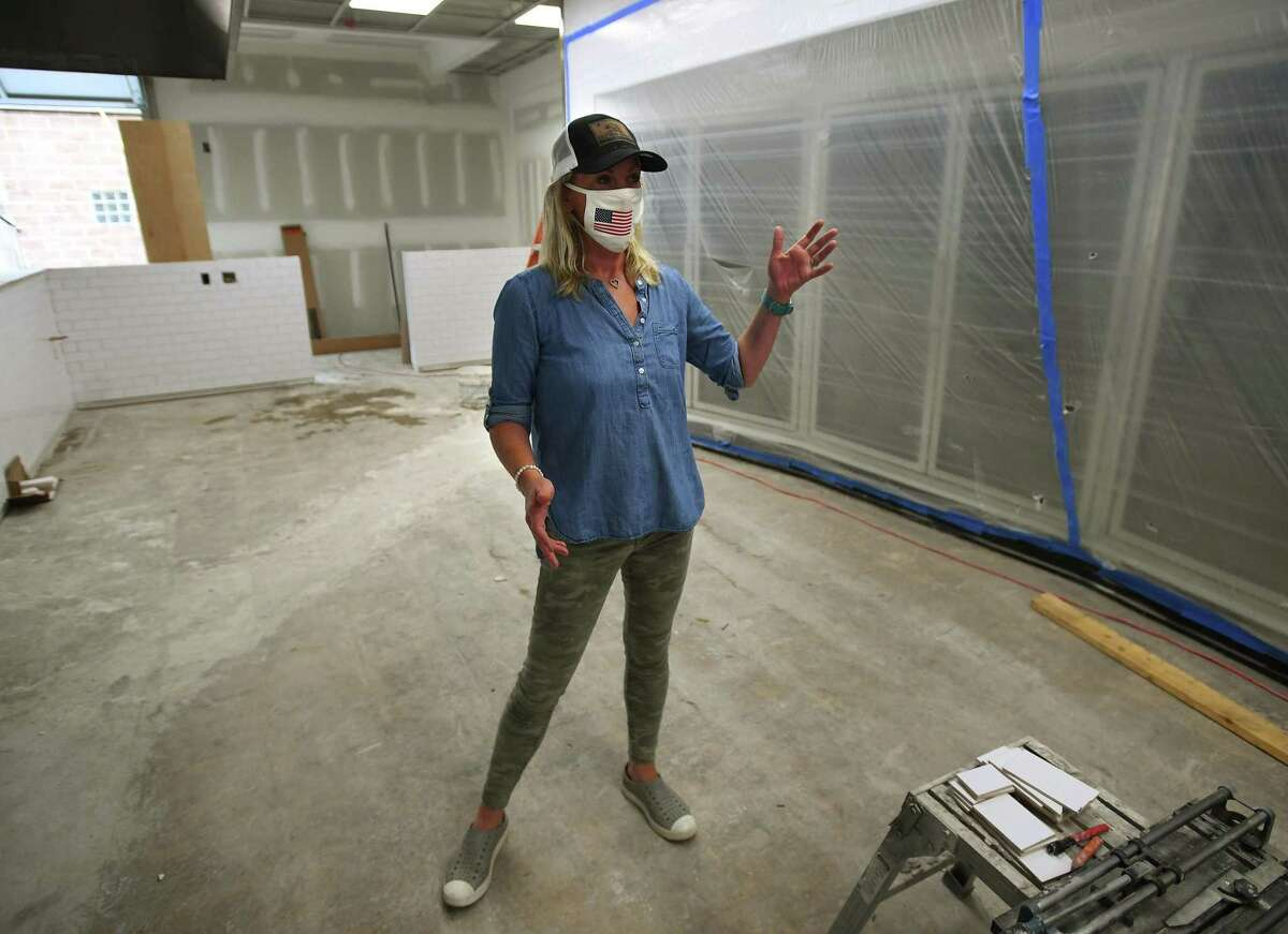 Bridget Lesizza gives a tour of the Reef Shack, the new fast casual marketplace and grill she is opening with her husband Jason at 257 Reef Road in Fairfield. The couple is planning on a late October opening for the business.
