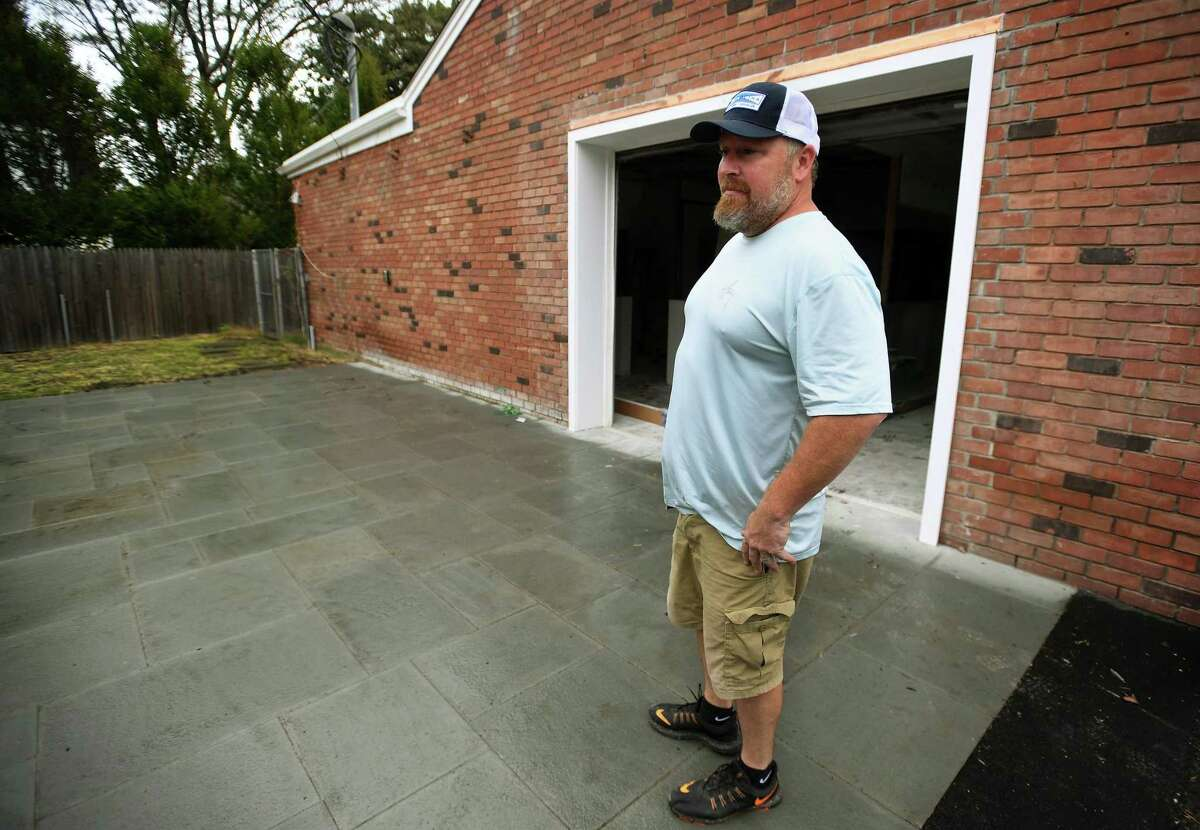 Jason Lesizza on the patio dining area at the Reef Shack, the new fast casual marketplace and grill he is opening with wife Bridget at 257 Reef Road in Fairfield. The couple is planning on a late October opening for the business.